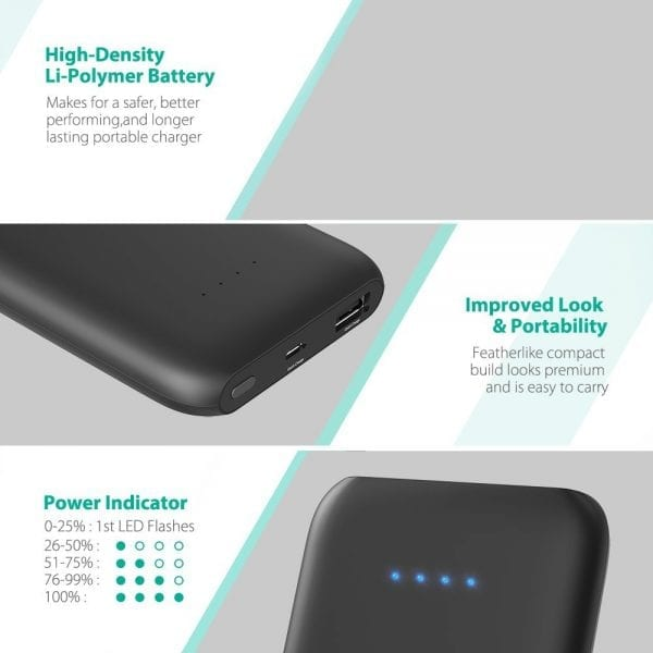 RAVPower 10000mAh Portable Charger with Quick Charge 3.0 (5)