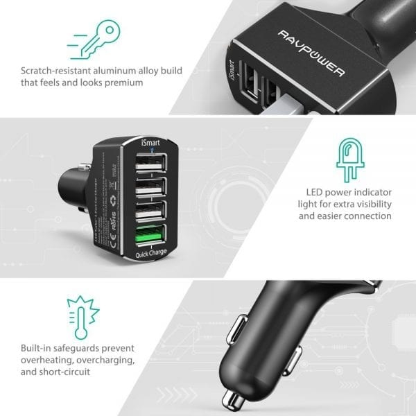 RAVPower 4-Port Fast USB Car Adapter with Quick Charge 3.0 (5)
